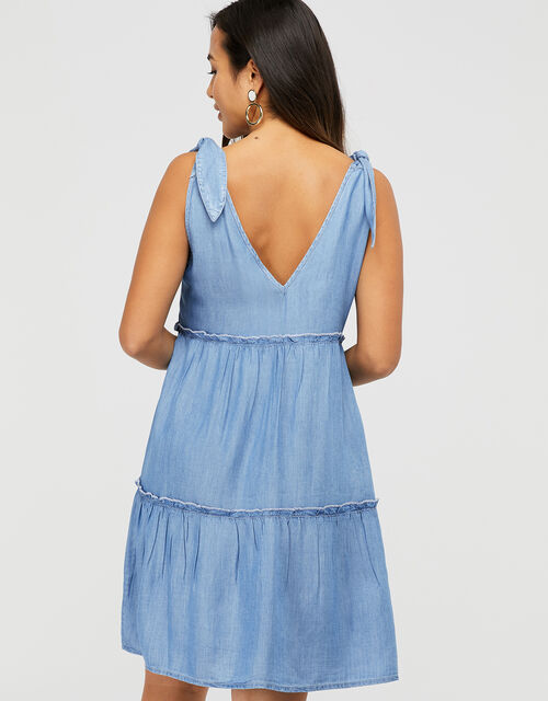 Tiered Chambray Mini Dress in TENCEL® Lyocell, Blue (BLUE), large