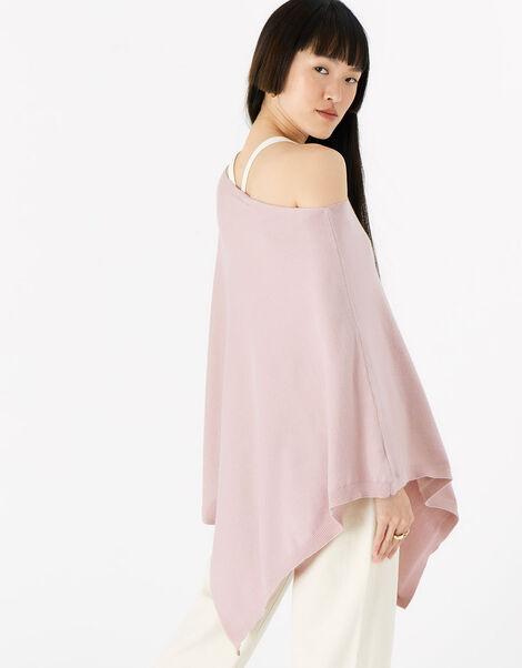 Lightweight Knit Poncho Pink, Pink (PALE PINK), large