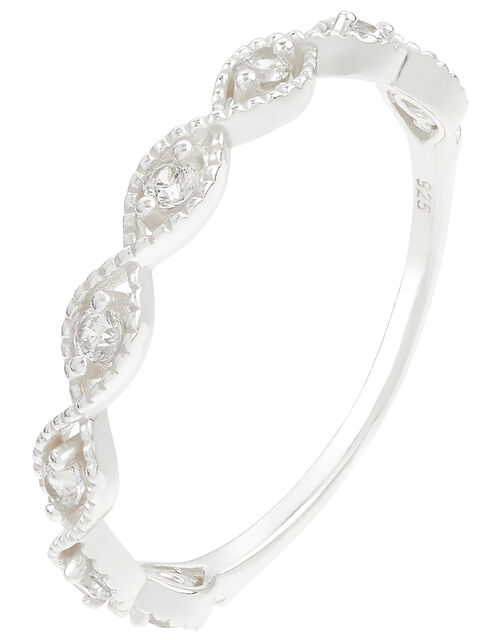 Sterling Silver Sparkle Weave Band Ring, White (ST CRYSTAL), large