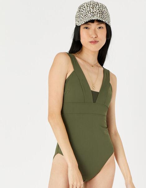 Lexi Plunge Shaping Swimsuit  Green, Green (KHAKI), large