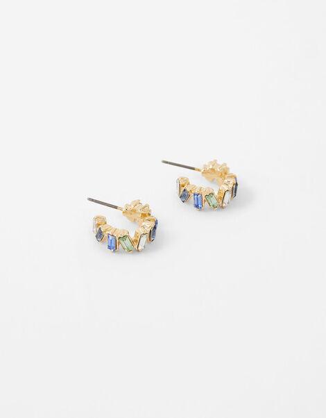 Mini Baguette Gem Hoop Earrings, , large