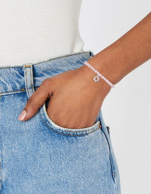 Sterling Silver Crown Chakra Bracelet with Rose Quartz, , large