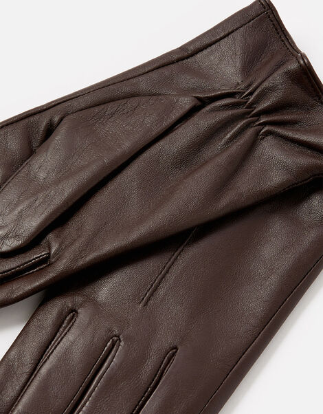 Luxe Leather Gloves Brown, Brown (CHOCOLATE), large