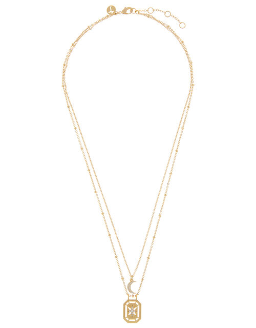 Gold-Plated Celestial Pendant Necklace, , large