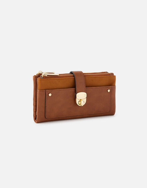 Freya Push Lock Wallet , Tan (TAN), large