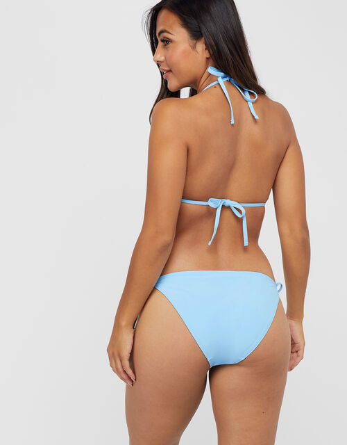 Smock Detail Triangle Bikini Top, Blue (BLUE), large