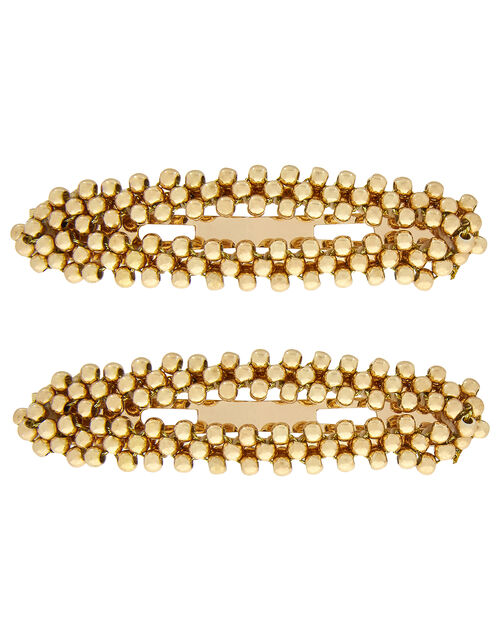 2x Gold Beaded Snap Hair Clips, , large