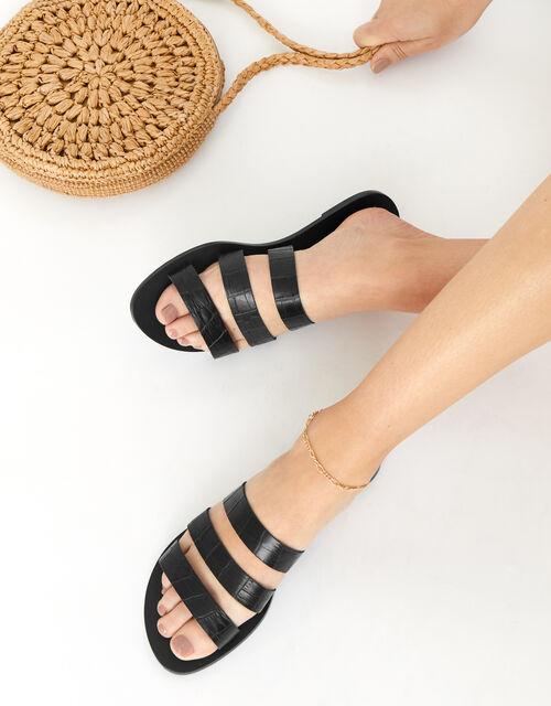 Triple Strap Leather Sandals , Black (BLACK), large