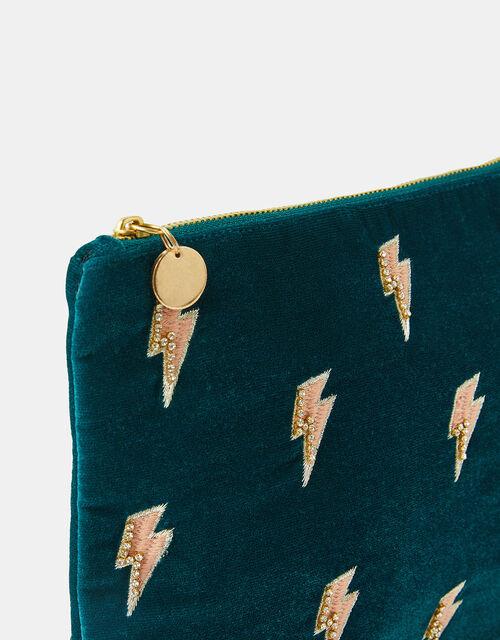 Lightning Bolt Embroidered Makeup Bag, , large
