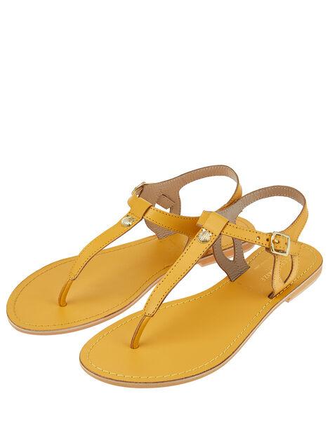 Seashell Charm Leather Sandals Yellow, Yellow (YELLOW), large