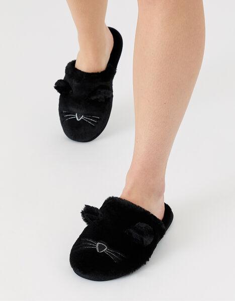 Cat Mule Slippers Black, Black (BLACK), large