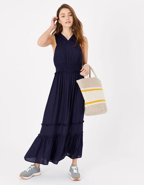 High V-Neck Jersey Maxi Dress Blue, Blue (NAVY), large