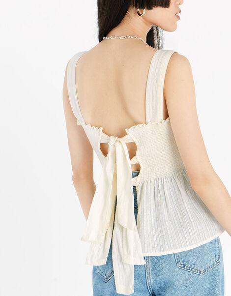 Bow Back Peplum Hem Top Natural, Natural (IVORY), large