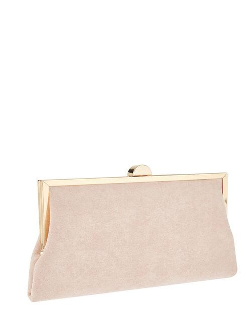 Suedette Clipframe Clutch Bag, Nude (NUDE), large