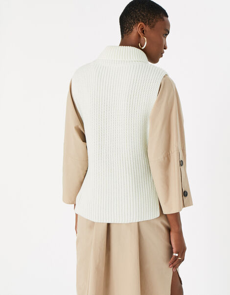 Polo Neck Knit Vest with Recycled Polyester White, White (WHITE), large