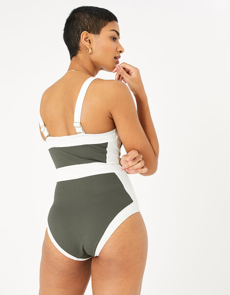 Illusion Textured Shaping Swimsuit Green, Green (KHAKI), large