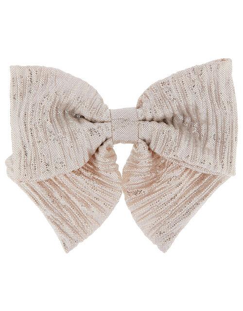 Metallic Shimmer Bow Barette, , large