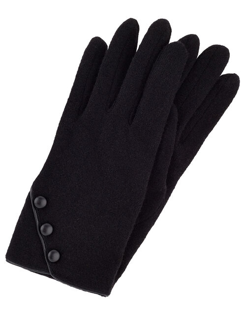 Button Gloves in Pure Wool, Black (BLACK), large