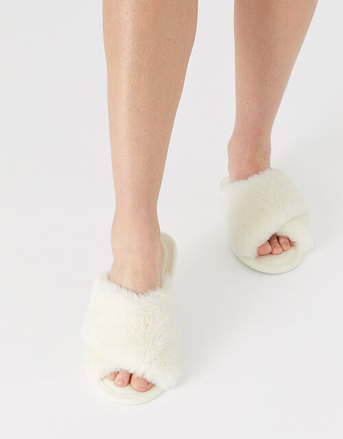 Fluffy Peep-Toe Slipper Sliders, Cream (CREAM), large