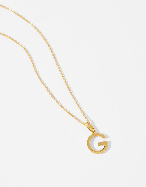 Gold Vermeil Initial Pendant Necklace - G, , large