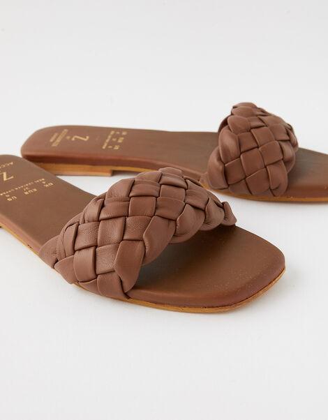 Plaited Strap Leather Sliders Tan, Tan (TAN), large