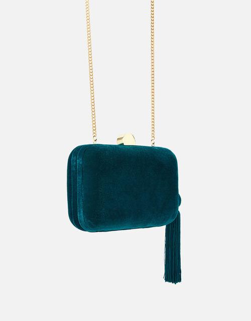 Velvet Hardcase Clutch Bag, Teal (TEAL), large