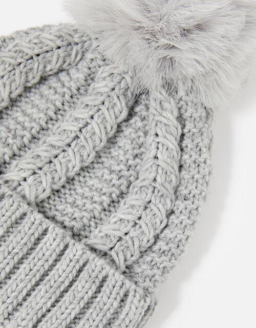 Chunky Knit Pom-Pom Beanie, Grey (GREY), large