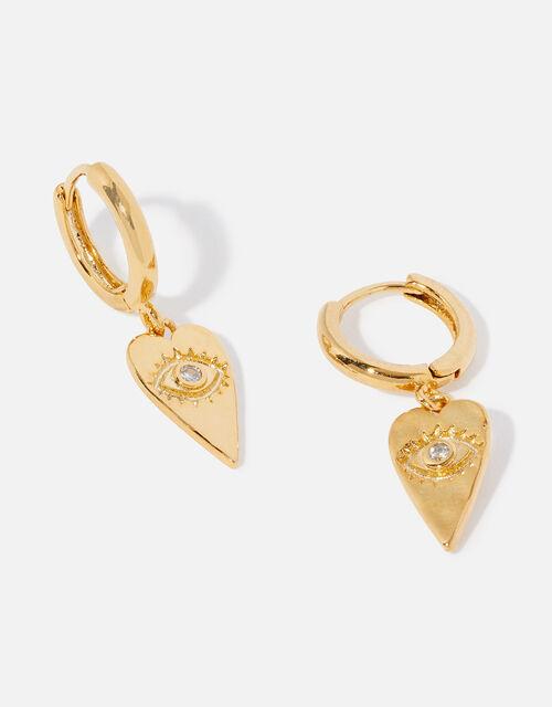 Gold-Plated Talisman Heart Huggie Hoops, , large