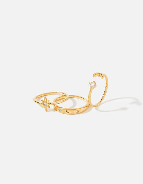 Gold-Plated Celestial Stacking Ring Set Gold, Gold (GOLD), large