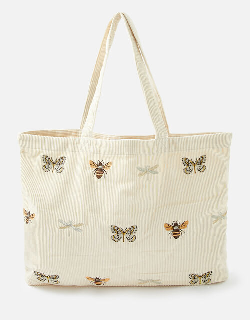 Insect Embroidered Cord Shopper Bag, Cream (CREAM), large