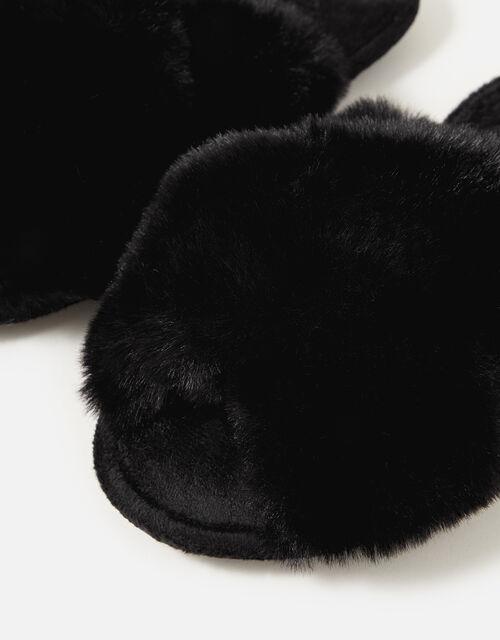 Luxe Faux Fur Sliders, Black (BLACK), large