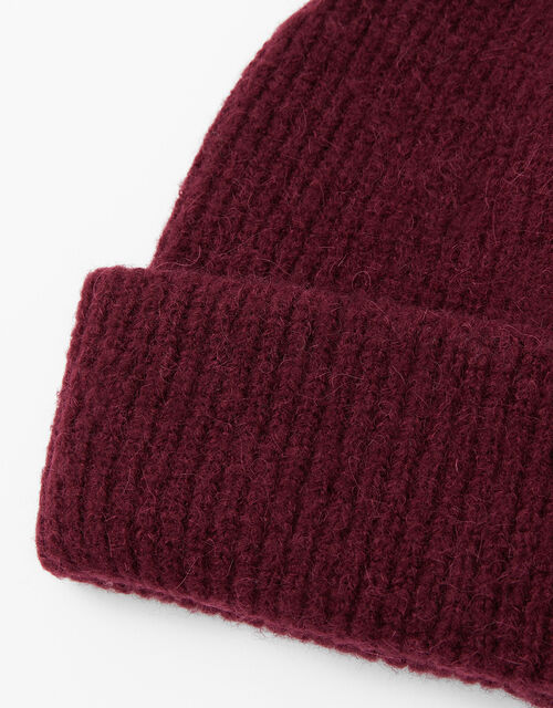 Compton Fluffy Beanie Hat, Red (BURGUNDY), large