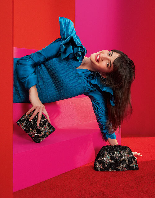 Embellished Star Velvet Purse, , large