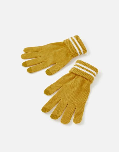 Varsity Stripe Touchscreen Gloves Yellow, Yellow (OCHRE), large
