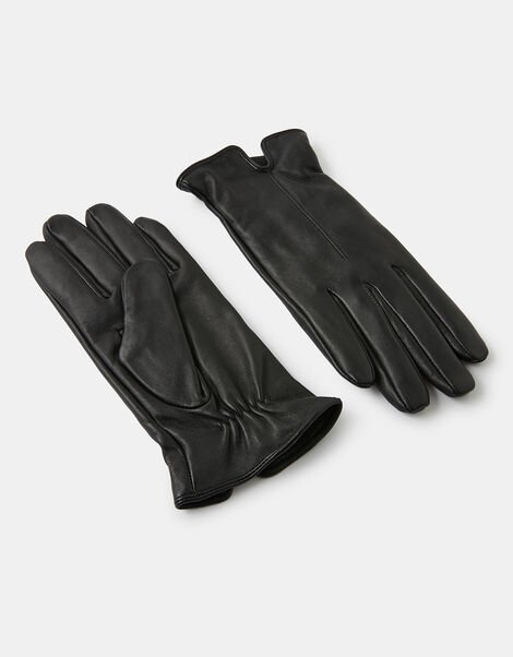 Luxe Leather Gloves Black, Black (BLACK), large