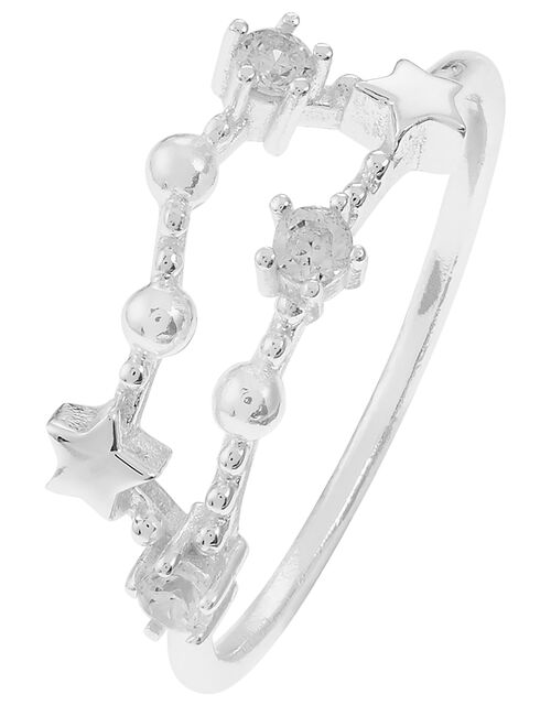 Sterling Silver Capricorn Constellation Ring, White (ST CRYSTAL), large