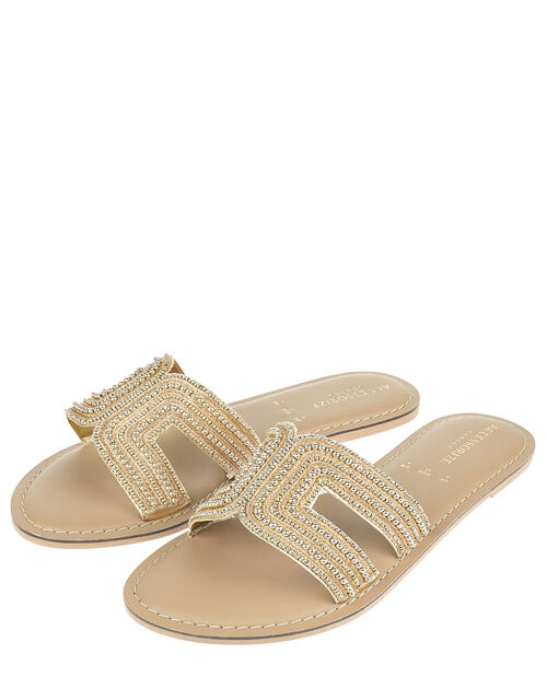 Bella Beaded Sliders, Gold (GOLD), large