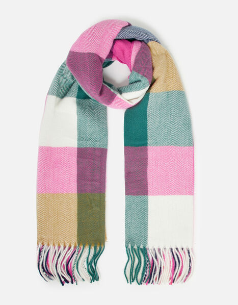 Colourblock Check Blanket Scarf , , large