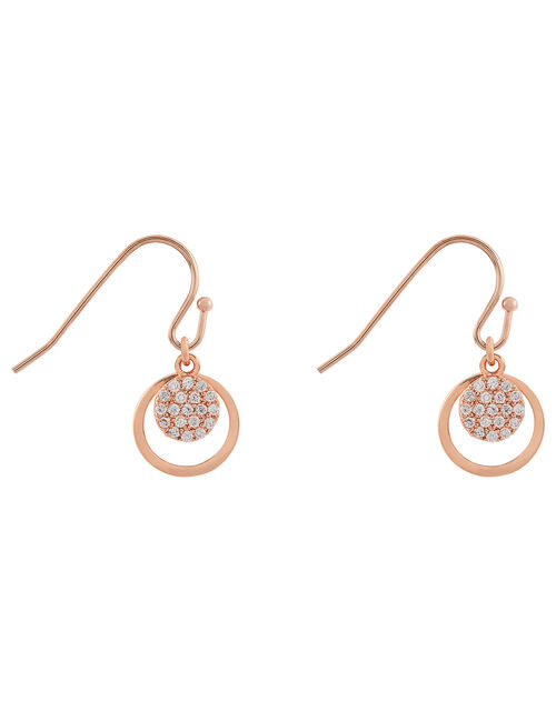 Rose Gold-Plated Sparkle Short Drop Earrings, , large