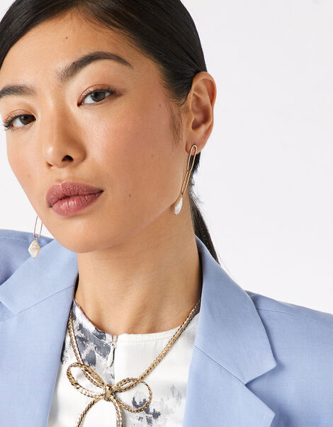 Freshwater Pearl Chain Earrings, , large