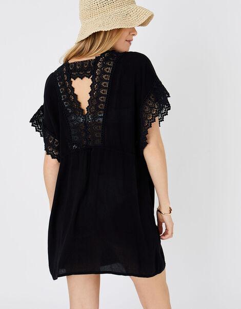 Lace Trim Kimono in LENZING™ ECOVERO™ Black, Black (BLACK), large