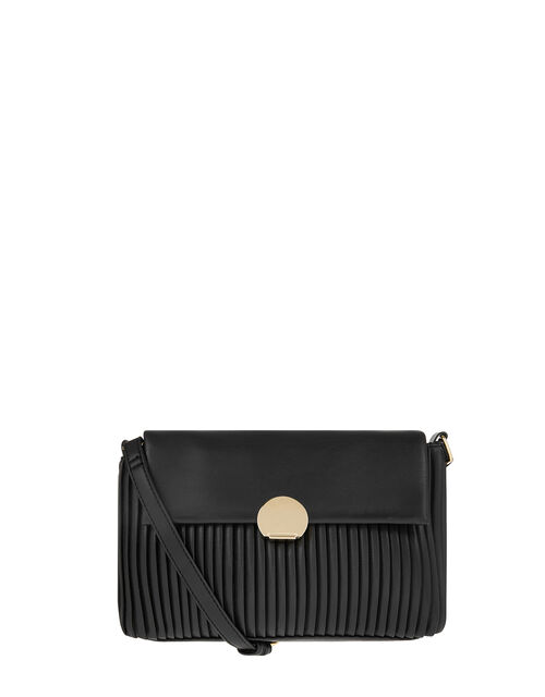 Pleated Cross-Body Bag, Black (BLACK), large