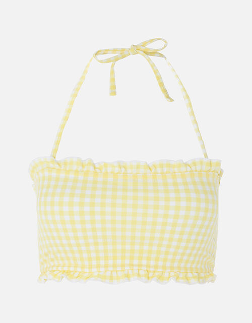 Gingham Bandeau Bikini Top, Yellow (YELLOW), large