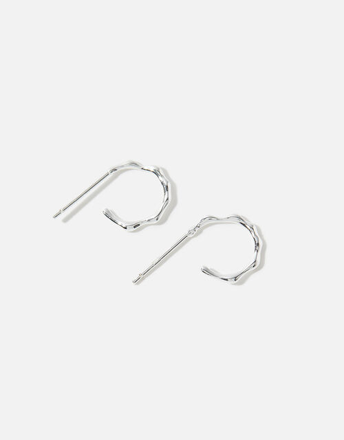Sterling Silver Molten Hoop Earrings, , large