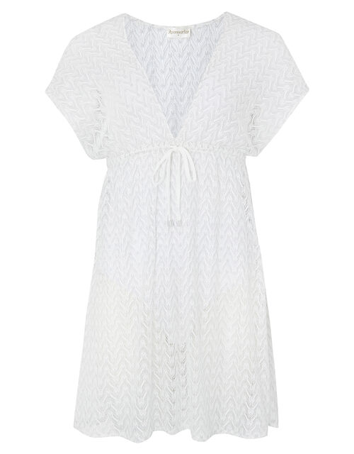 Shimmer Lace Tabbard Dress, White (WHITE), large