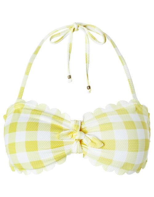 Sasha Gingham Scalloped Bandeau Bikini Top, Yellow (YELLOW), large