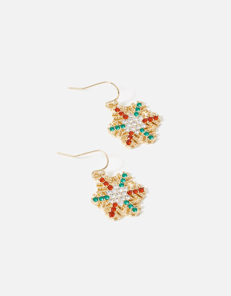 Crystal Snowflake Short Drop Earrings, , large