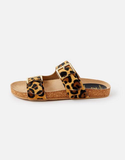 Leopard Print Buckle Sandals, Leopard (LEOPARD), large