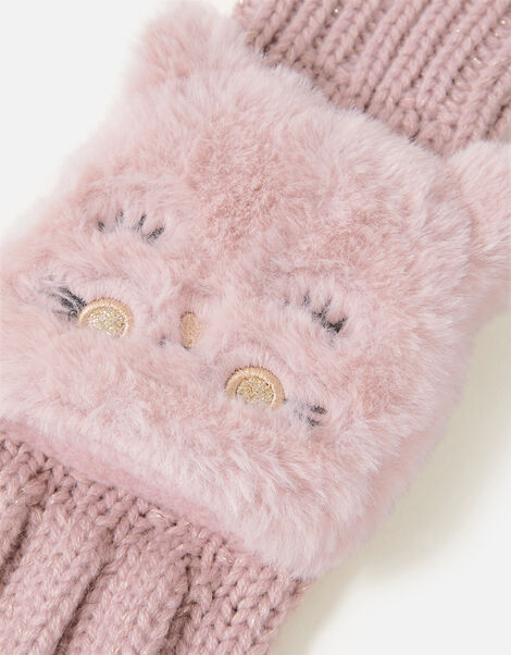 Girls Fluffy Cat Capped Gloves Pink, Pink (PINK), large