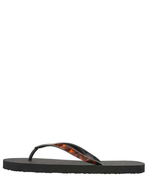 Tortoiseshell Eva Thong Flip Flops , Black (BLACK), large